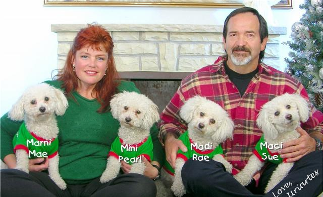 Alane with her Husband Ric and Four Dogs